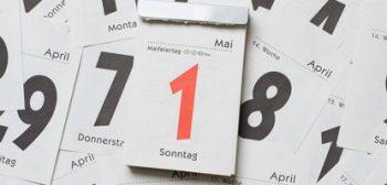 ILLUSTRATION - Ein Tagesabreißkalender mit dem Kalenderblatt vom 01. Mai 2016 liegt am 23.04.2016 in Dresden (Sachsen) auf einem Tisch. Im Jahr 2016 fällt der 1. Mai auf einen Sonntag. Foto: Sebastian Kahnert/dpa (zu dpa «Politiker wollen Feiertage «nachholen»» vom 23.04.2016) +++(c) dpa - Bildfunk+++